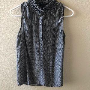 J CREW B/W Herringbone Silk Blouse * SIZE 0